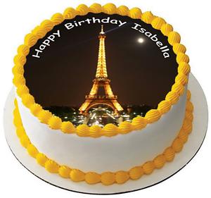 PARIS EIFFEL TOWER 75 PREMIUM Edible RICE CARD Cake Topper CAN