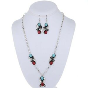 turquoise coral navajo jewelry set necklace earrings ebay