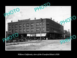 OLD-LARGE-HISTORIC-PHOTO-OF-WILLOWS-CALIFORNIA-VIEW-OF-THE-CRAWFORD-HOTEL-c1920
