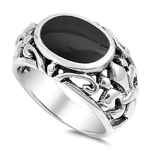 Anneau Véritable Argent Sterling 925 Noir Onyx Bijoux face hauteur 16 mm Taille 11