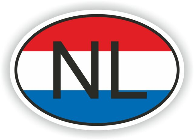 NL NETHERLANDS COUNTRY CODE OVAL WITH FLAG STICKER bumper decal car helmet
