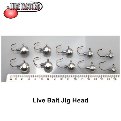 10 x live bait  jigheads perch pike bass live baiting jig head