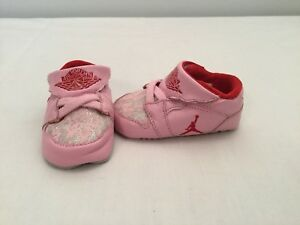 Nike Air Jordan 1st Crib Infant Girls Pink Red Silver Crib Shoes