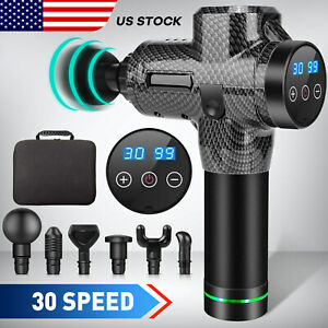 LCD 6/30Speed Massage Gun Percussion Massager Deep Tissue Muscle Vibrating Relax