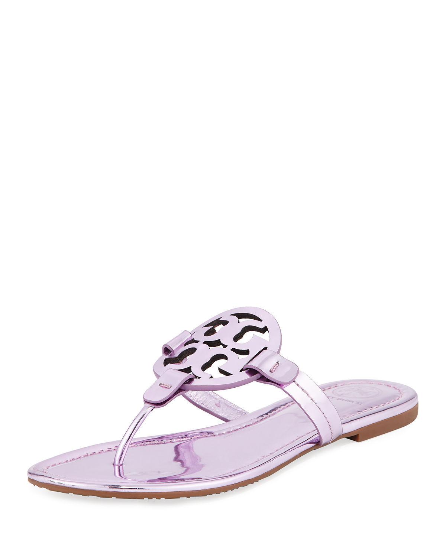 Nuevo En Caja Tory Burch Zapatos Sandalias Planas Planas Planas diapositiva Metálico Miller rosado 7 M  directo de fábrica