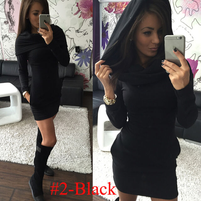 Womens Pocket Long Sleeve Hoodies Hoody Jumper Sweatshirt Top Bodycon Mini Dress