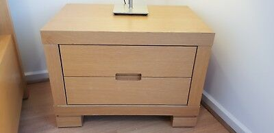 Brand New Modern Scandinavian Natural Oak 2 Drawer Bedside Table New In Box Ebay