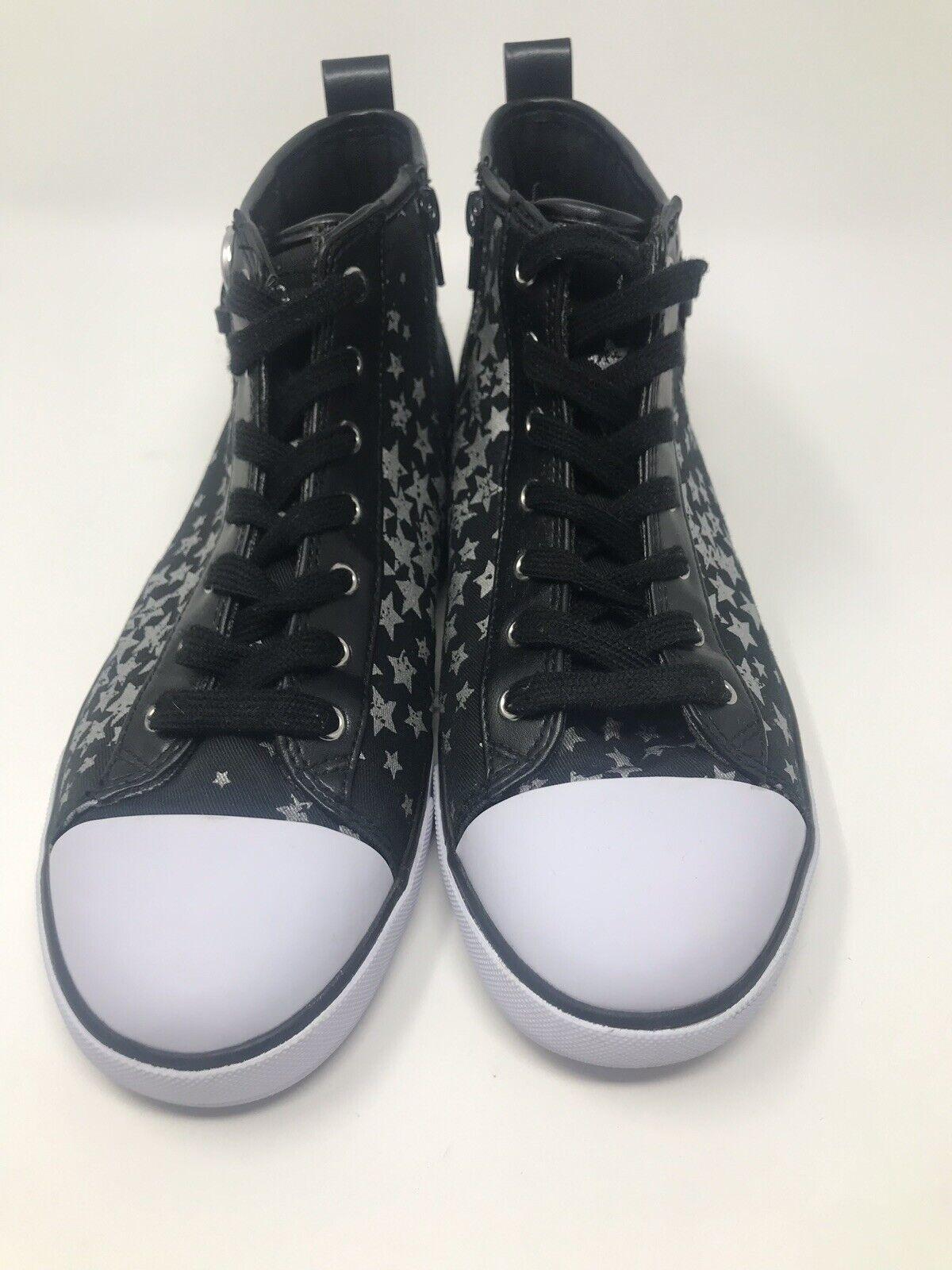 New G By Guess Maree Haute Côté Supérieur Fermeture Éclair Lacets Baskets chaussures Plates  noir STAR  6