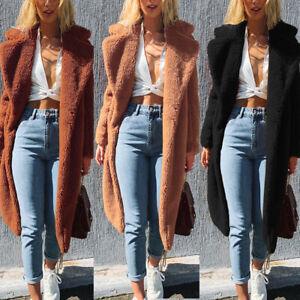 Donne-Inverno-Caldo-Finto-Pelliccia-Lunga-Cappotto-Turn-Down-Collar-Long-Outwear
