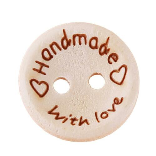 100X Love Handmade Letter Round Wood Button 2 Hole Sewing Craft Wedding Decor LC