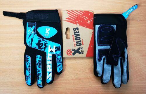 X-Rated Enfants Cyclisme Vélo plein doigt velcro BMX Gants Bleu Petit