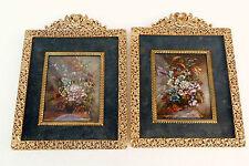 Paire de Miniatures peinture sur cuivre bouquet de fleurs cadre bronze doré N610