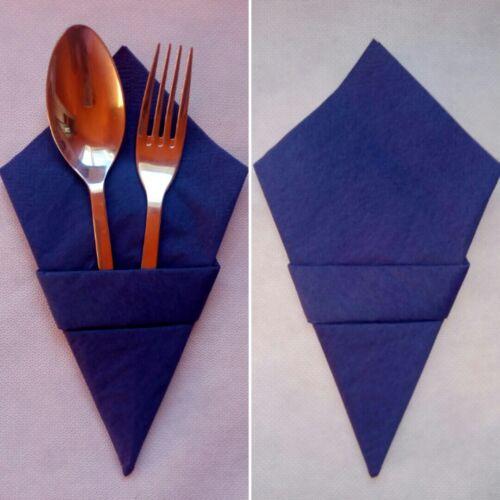 Servietten dunkelblau Tüten form 10 Stück fertig gefaltet Hochzeit Besteckttasce