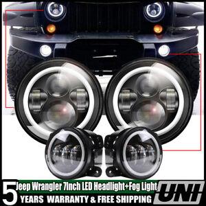 2X-7INCH-Round-LED-Headlight-Bulb-DRL-4-034-Fog-Lamp-for-Jeep-JK-CJ-LJ-Hummer-H1
