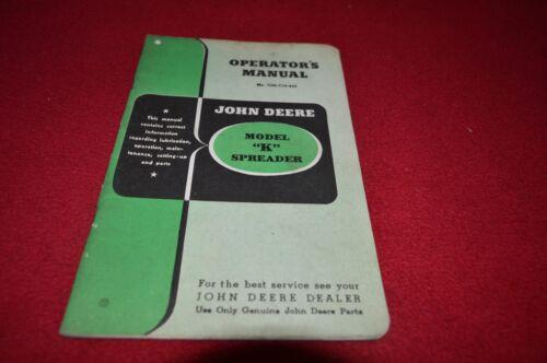 John Deere Model K Manure Spreader Operator/'s Manual DCPA5