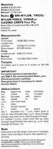 """1036 Bebé Niña//niño 4 capas Sombrero Abrigo y Pantalones conjunto de 18-22/"""" Vintage patrón de ganchillo"""