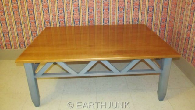 Ethan Allen Country Colors Sofa Table Maple Wood Wheat Denim Blue 14 9407
