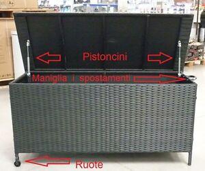 Dettagli Su Baule Contenitore Portalegna Da Interno Esterno Per La Legna In Rattan Sintetico
