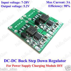 5PCS 5V 3A Mini Step Down Power Supply Module DC-DC Buck Converter Input 7~28V