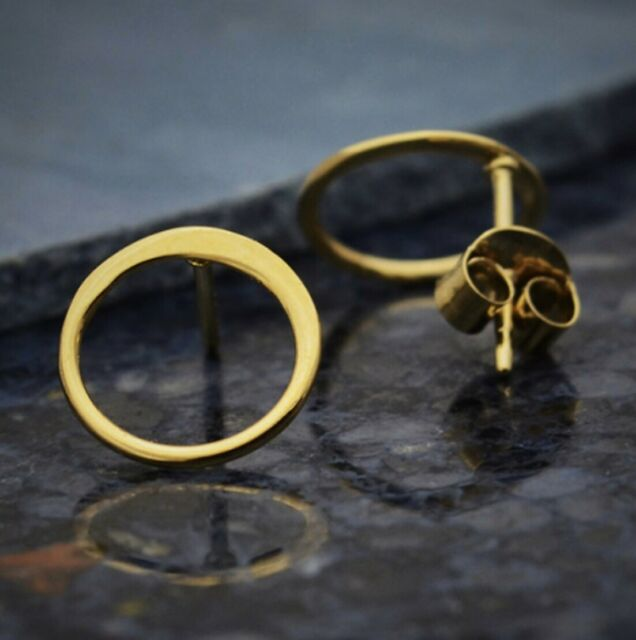 4mm Round Circle Disc Stud Earrings in Gold Vermeil