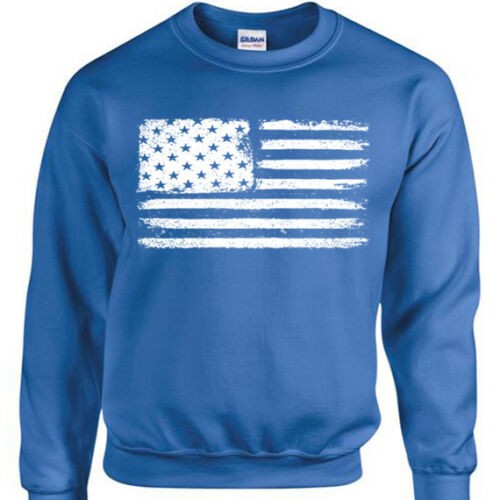 Grunge USA Flagge Pullover Herren Damen American Retro Distressed Biker Pulli