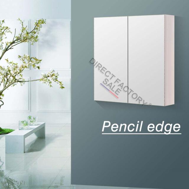 600x720x150mm  Bathroom Vanity Pencil Edge Shaving Mirror Medicine Cabinet White