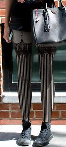 d84ec37b339 Image is loading Steampunk-Victoriana-Striped -Fake-Lace-Garter-Mock-Suspender-