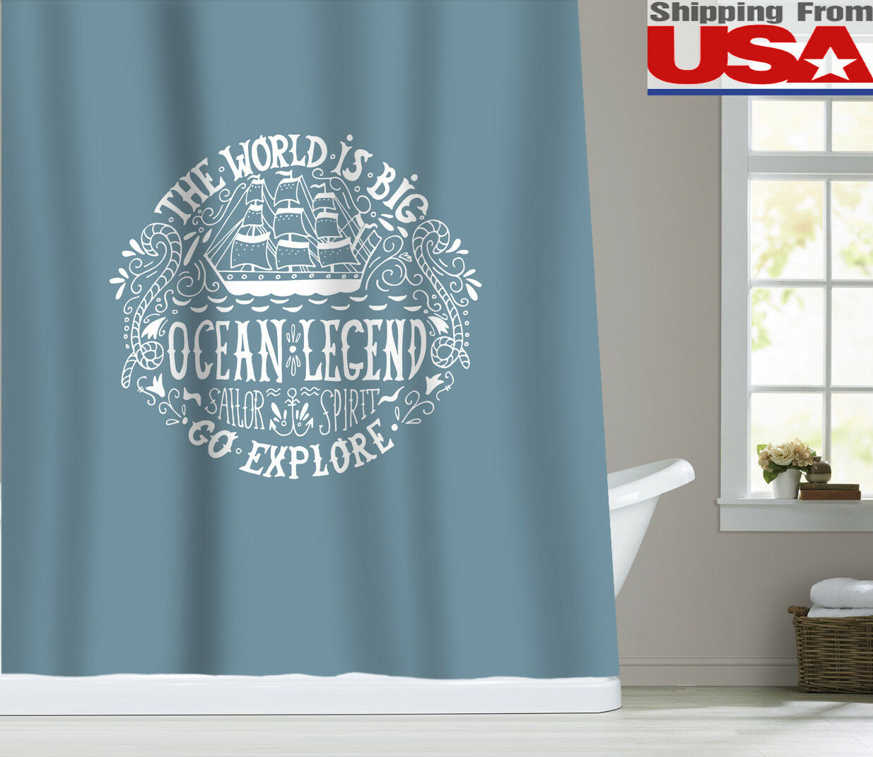 Sunlit Oecan Quotes Waterproof Fabric Shower Curtain Bathroom 12hooks 72x72