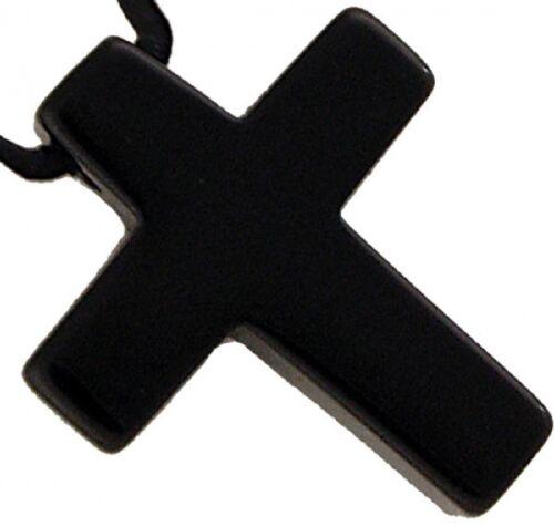 Kreuz Anhänger Onyx 30 mm mit Lederband Edelstein Kette schwarz Schörl Gothic