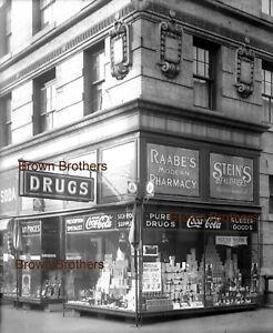 1919 NYC Drugstore Coca Cola & Pluto Water Signs Photo Glass Camera Negative #3