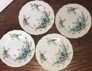 Vintage-Robins-Egg-Blue-Forget-Me-Not-4-Dessert-Salad-Plates-Gold-Colored-Trim