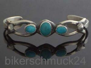 Navajo-Indianerschmuck-Lady-Silberarmreif-925-Silber-mit-Tuerkis-Damen-Geschenk