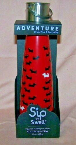 450 ml Sip by Swell Insulated Water Bottle Savvy Scotties Dogs 15 oz NEW Red