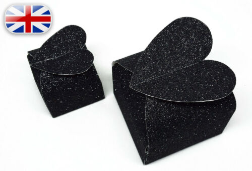 Baby Shower,Valentines~ Black Glitter Love Heart Top Wedding Favour Gift Boxes