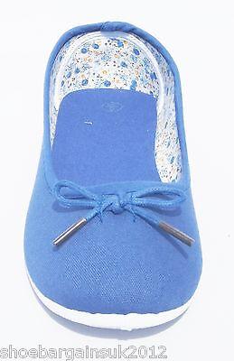 Damen Mädchen Blau Pink Beige Flache Ballerinas Pumps Freizeit-leinenschuhe