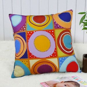 Circles-in-Squares-VELVET-PILLOW-COVER-FOLK-ART-Various-Sizes-KARLA-GERARD