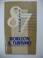 1987 Plymouth Horizon & Turismo Owners Manual