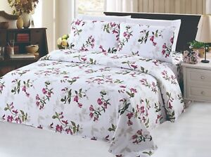 Rich Printed Bamboo 6 Pieces Sheets Set Light Floral Pattern Queen Size Ebay