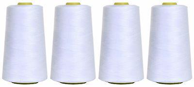 Blanco hilo para m/áquina de coser de poli/éster 5000 yardas cuatro conos /£8,99