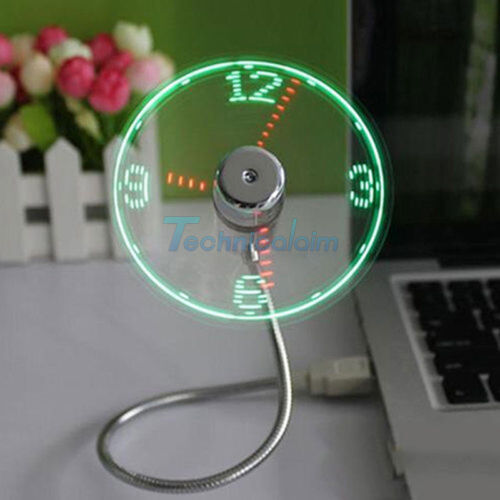Portable Micro//Mini DEL USB Cooling Clock Fan Flasher Real Time écran Android