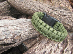 Outdoor Paracord Survival Bracelet with Whistle & 11FT Rope