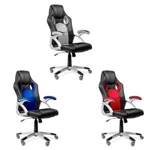 Silla-de-oficina-racing-gaming-sillon-de-despacho-color-Azul-Rojo-o-Gris-McHaus