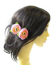 2 x Light Pink Ranunculus Flower Hair Pins Vintage Rockabilly Clip Rose Bud 1486