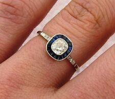 Art Deco Old Cushion Cut .51 Carat Diamond Sapphires Platinum Ring