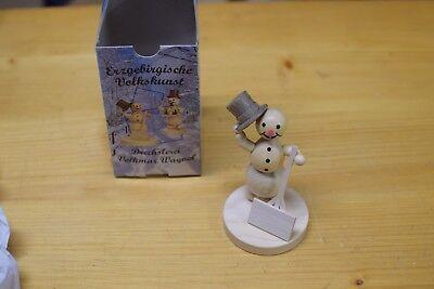 Holzfigur Weihnachtsfigur Schneemann Wanderer Höhe ca 6,5 cm NEU Erzgebirge
