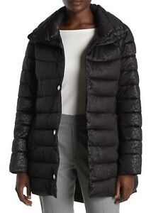 Kenneth Cole NWT Sz XL Animal Print Puffer Jacket Black Leopard Insulated Womens