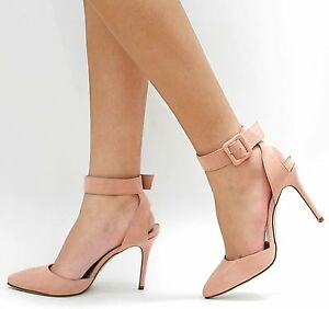 New Women OMa Blush Pink Pointed Toe Ankle Strap Stiletto Pump