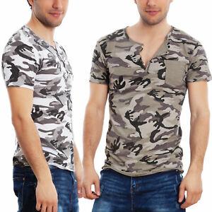 T-shirt Maglia Maglietta Uomo Serafino Mimetico Camouflage Cotone Toocool T5320