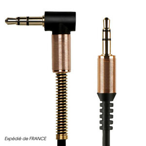 Cable-Prise-Jack-3-5mm-Male-Male-Coude-90-Stereo-pour-Smartphone-Voiture-Casque