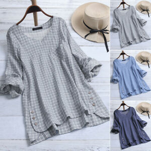 ZANZEA-Women-Long-Sleeve-Plaid-Check-Shirt-Tops-V-Neck-Casual-Asym-Hem-Blouse